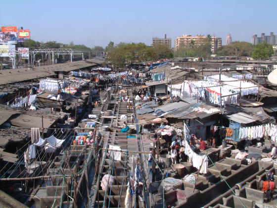A crowded shanty area in India