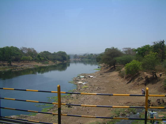 A river with wide dry banks